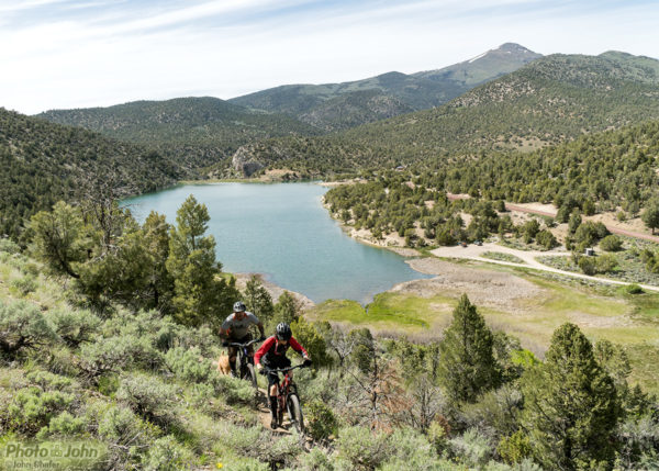 Mountain Bikers at Cave Lake, Nevada